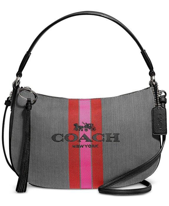 美國名牌 COACH 69647 Crossbody專櫃款棉 +皮革手挽/側肩/斜背包現貨在美特價$4680含郵