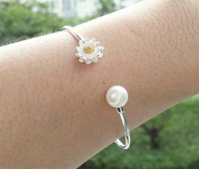 嗨,寶貝銀飾珠寶* 925純銀☆999純銀 時尚 造型 珍珠 清新小雛菊實心開口純銀手環 手鐲 可調節