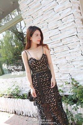[ ohya梨花 ] =韓國帶回=最新春夏新款性感名媛黑色縷空蕾絲細肩帶長洋裝連身裙