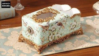 INPHIC-美式多功能手繪抽紙巾盒歐式奢華家居客廳茶几收納盒手裝飾品-B款_S01870C