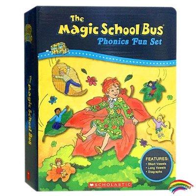 英文原版繪本 12冊盒裝+CD 神奇校車自然拼讀法 Magic School Bus Phonics Fun 外教推薦 進口兒童課外閱讀英語訓練輔導故事