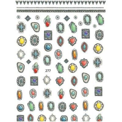 美甲貼紙《 277 寶石貼紙 》復古寶石 背膠貼紙 寶石 十字架 指甲貼紙 貼紙[羽美甲材料]