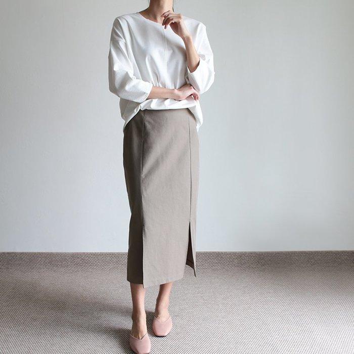 優質!超值價正韓 簡約開叉H型中長裙  (深卡其 / 橄欖 / 深咖啡 )       【L021】