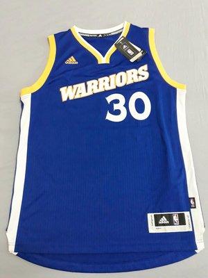 全新含吊牌 Adidas 金州勇士 Stephen Curry 球衣 復古藍 M號 少見 絕版 球迷版