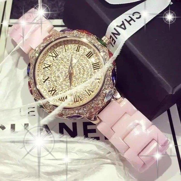 粉紅玫瑰精品屋~🌸時尚經典 優雅大氣🌸🌸高檔奢華珍珠陶瓷防水錶🌸🌸