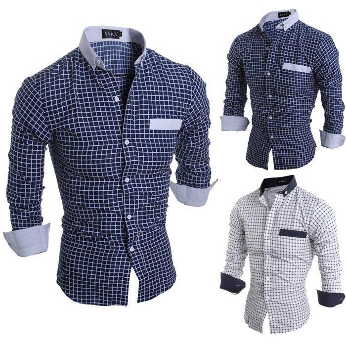 『潮范』 W03 新款經典格子男士修身休閒長袖襯衫 商務襯衫 格紋襯衫 拼接襯衫NRB1219