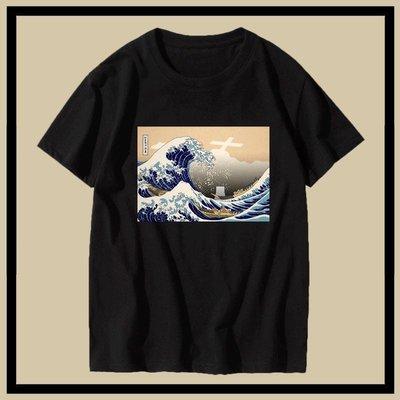 日本福島核廢水神奈氚沖浪里輻世繪短袖t恤男女夏季體恤大碼半袖