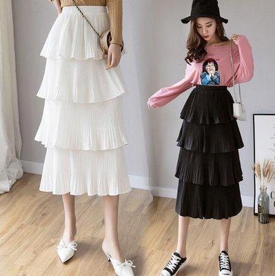 多層蛋糕裙 半身裙 新款夏季裙子 雪紡仙女百褶裙 波點中長裙—莎芭