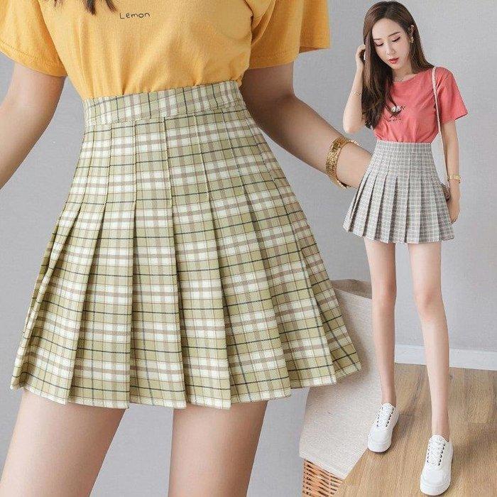 MORU部落 超夯的百褶裙格子裙夏季新款顯瘦百搭半身裙女高腰短裙子M36RU