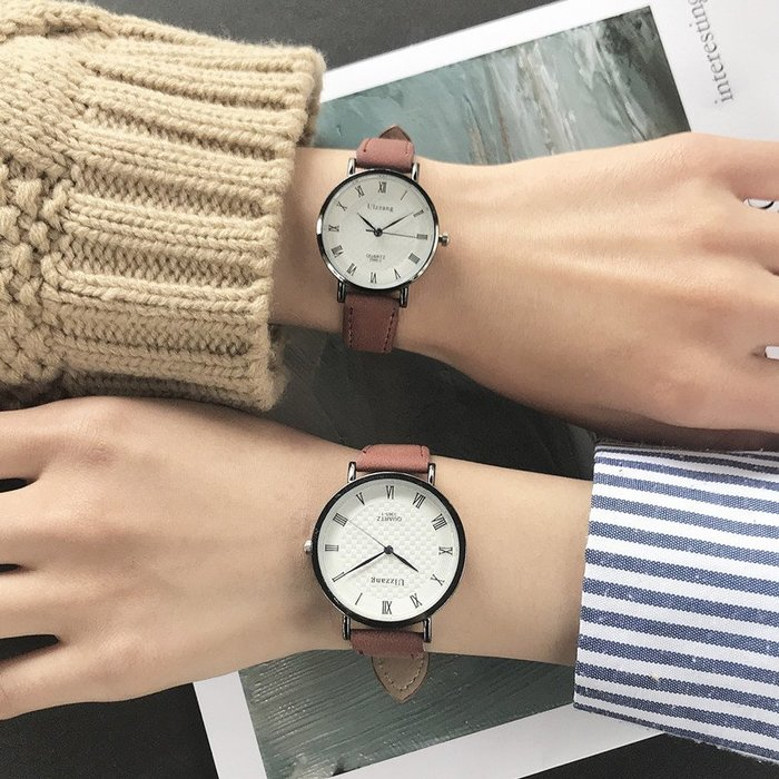 奇奇店#男女學生韓版簡約潮學院風高中森系 INS復古文藝情侶閨蜜手表一對#眼鏡#杯子#手錶