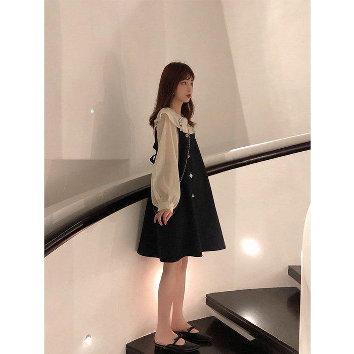 【私房款】仙女連身裙春秋新款甜美韓版學生小香風背帶裙兩件套裝女韓版