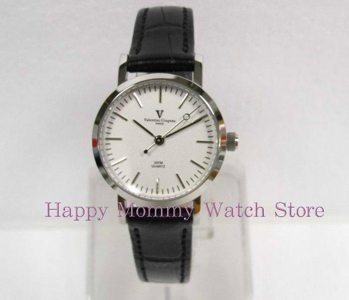 【 幸福媽咪 】valentino coupeau范倫鐵諾 簡約風格皮革錶帶 女錶 白面 61576SG