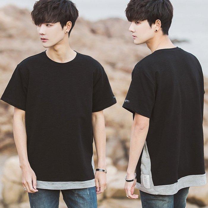 簡約 韓國韓版 日系 潮 流行 春夏韓版男士撞色下擺短袖T恤學生寬松時尚T恤假兩件t恤
