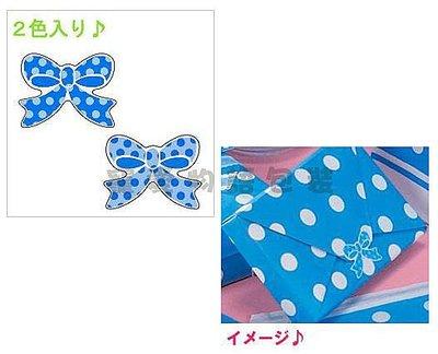 【寵愛物語包裝】日本進口 復古圓點 蝴蝶結 雙色 藍點點 可愛 禮品 貼紙 100入 日本製