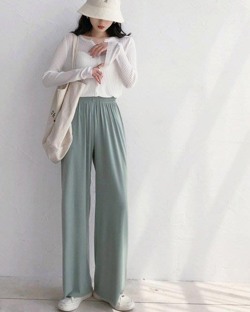 顯腿長!夏季新款寬鬆顯瘦薄款舒適直筒長褲休閒褲
