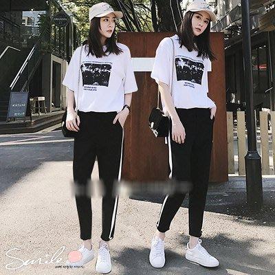 【V8145】SMILE-學院洋氣.黑白配色短袖上衣長褲兩件式套裝