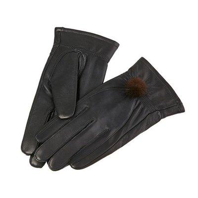 真皮手套 保暖手套-水貂毛球加絨綿羊皮女手套73wm42[獨家進口][米蘭精品]