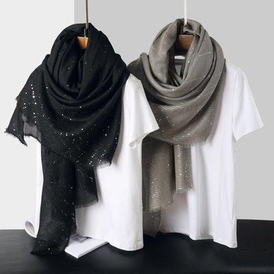 【Lady Luck服飾】高定版純色黑色駝灰色手工亮片圍巾棉麻披肩秋冬款宴會披巾
