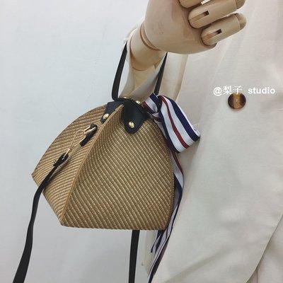 個性迷你立體三角手拎草編小包女2019新款歐美時尚單肩斜跨手提包