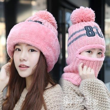 中大尺碼女冬天韓版潮三件套可愛貓咪保暖加絨加厚帽子手套圍巾套裝 js10770