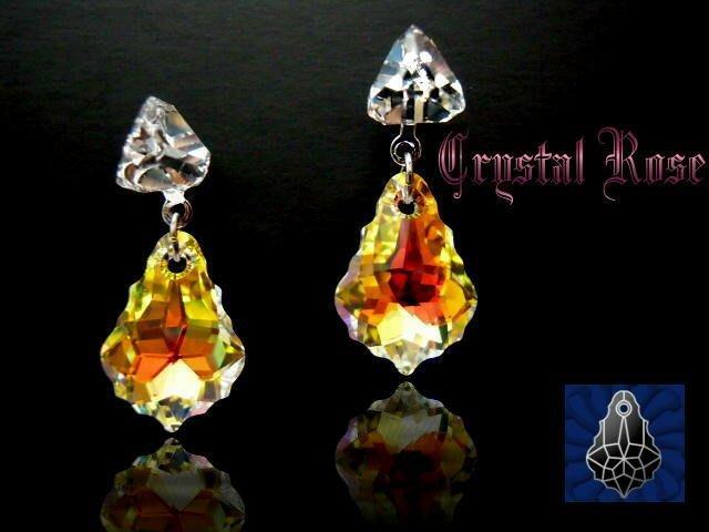 ※水晶玫瑰※ SWAROVSKI 巴洛克水晶 水晶耳針式耳環(DD116)