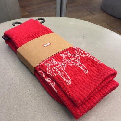 BEETLE PLUS 美國品牌 OBEY THE BIRD SOCKS 中指 紅 白 LOGO 中筒 長筒襪