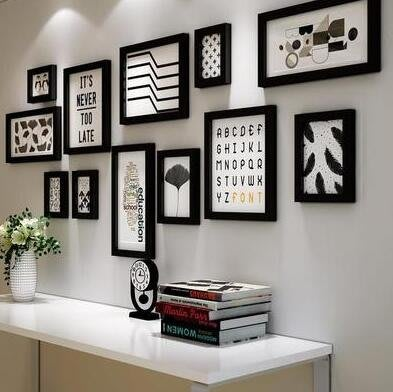 現代簡約實木照片牆客廳臥室牆面裝飾相框組合簡歐風格相框牆2425