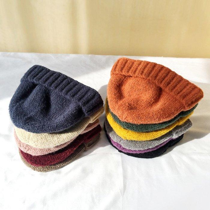 【超優質】瓜皮帽水手地主帽子流氓韓國網紅ins毛線帽女款純色針織簡約風
