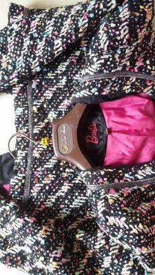 美碼2號 Barbie 七彩金蔥滾邊小香風毛呢外套 優質厚暖毛呢 非韓版薄款