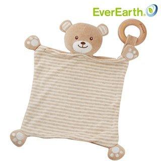 *╮叮噹玩具坊╭*德國EverEarth 小熊安撫方巾-有機棉