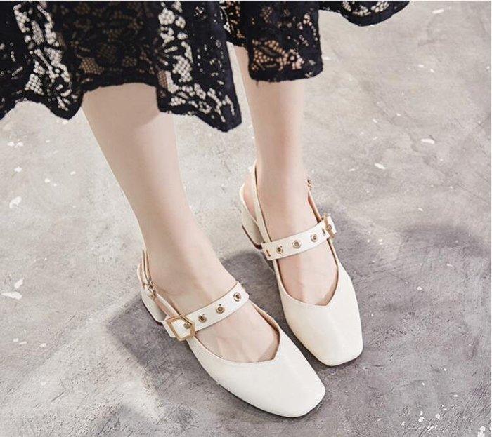 夏季新款韓版中跟方頭後空包頭涼鞋女粗跟單鞋百搭小清新女鞋