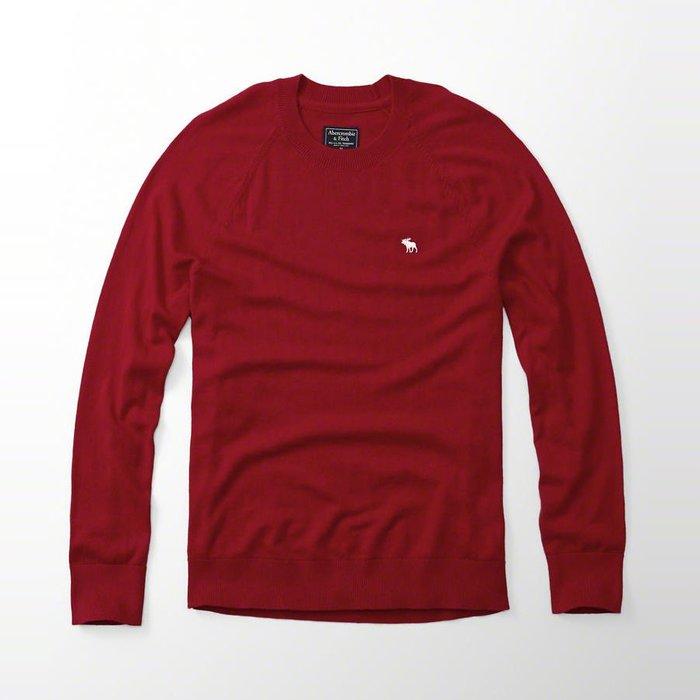 美國百分百【Abercrombie & Fitch】針織衫 AF 毛衣 麋鹿 圓領 羊毛 線衫 紅色 M H405
