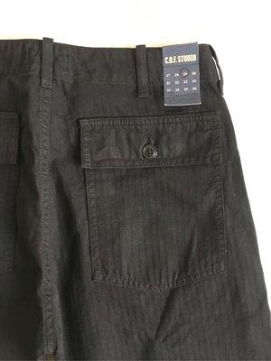 牛仔之星全新COF Studio Fatigue Pant HBT黑色休閒褲麵包褲