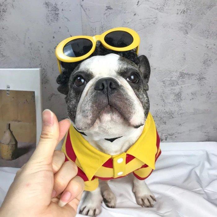 ۞芙芙遊樂園۞2018新款:潮牌法鬥巴哥經典條紋POLO衫上衣百搭棉衣胖狗寵物狗衣服中小型犬