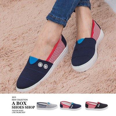 格子舖*【AWA01】零碼36.37 基本款百搭優質 撞色條紋鈕扣 休閒帆布鞋 懶人鞋便鞋