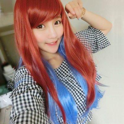 紅藍混色雙色漸層微捲長髮~高仿真超自然整頂假髮【MA149】☆雙兒網☆