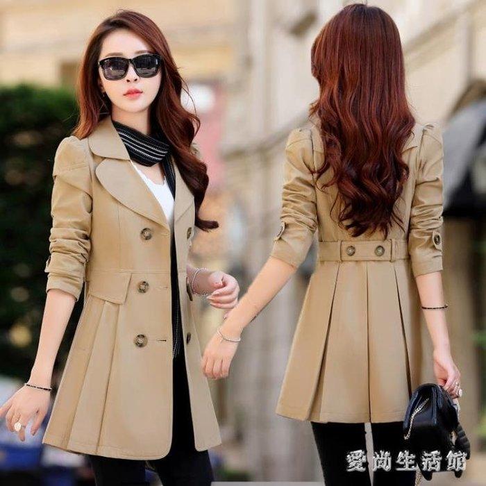中大尺碼風衣  裝春秋韓版中長款寬鬆加肥加大碼氣質雙排扣女 AW6553