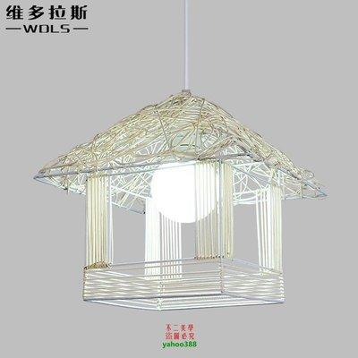 【美學】燈具美式藝術藤藝陽臺餐廳單頭小吊燈MX_22
