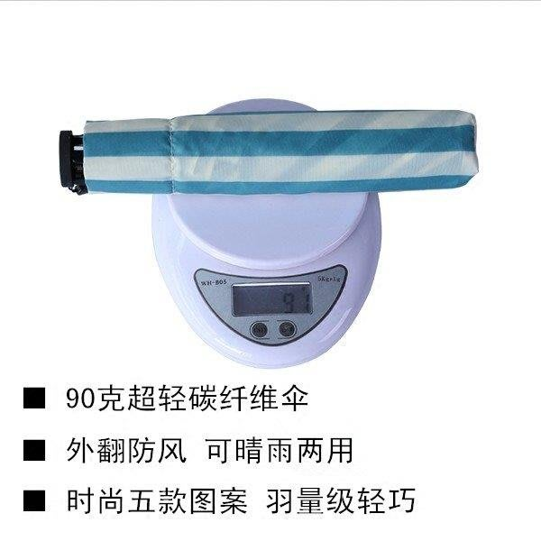 BELOCO 夏季必備日本超輕量碳纖維傘90克單人便攜帶旅行防風折疊傘輕巧女士晴雨傘BE655