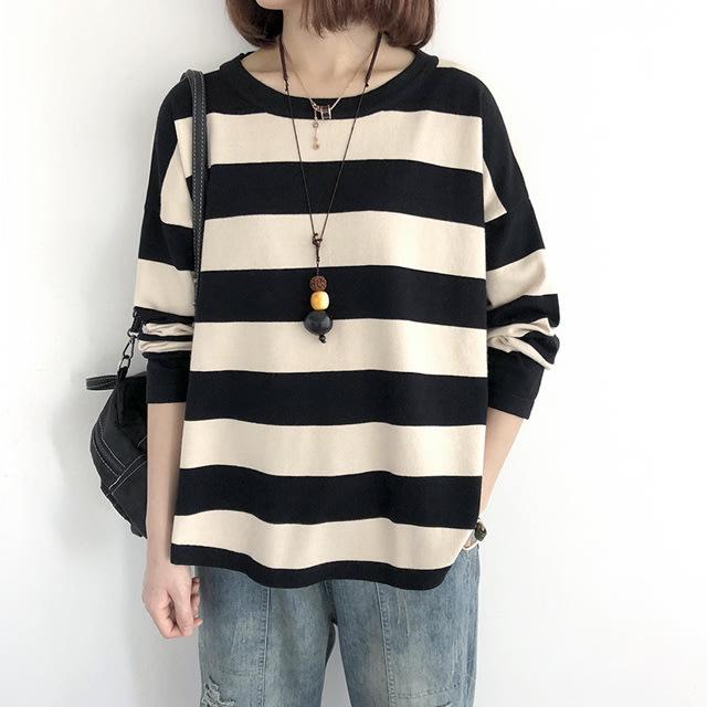 【T12867】1A43撞色條紋薄針織衫7色F.預購。小野千尋