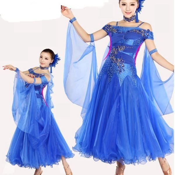 5Cgo【鴿樓】會員有優惠 20278082183 媚羽摩登舞衣網紗裙比賽國標舞裙社交舞衣鑲鑽蕾絲長裙舞蹈服