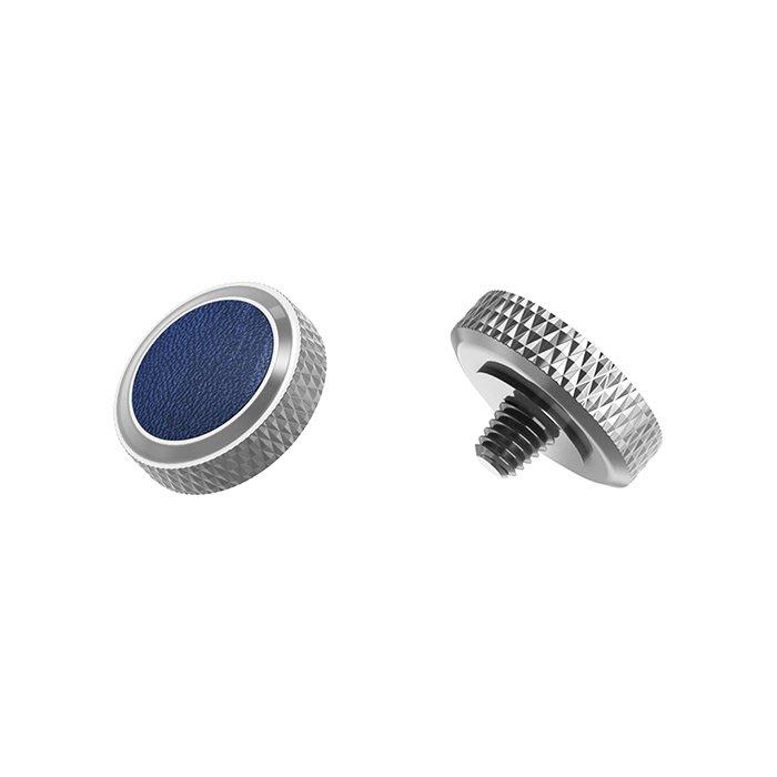 【傑米羅】JJC 機械相機 螺牙式 快門按鈕 增高鈕《純銅製 豪華版》(SRB-GR 銀框藍皮) - 帶防脫圈 防鬆脫
