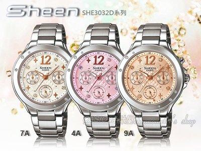 CASIO 時計屋 CASIO手錶 SHEEN SHE-3032D-4A三眼 施華洛世奇 彰化縣