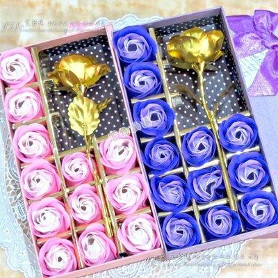 母親節康乃馨 玫瑰香皂花禮盒 金色玫瑰...