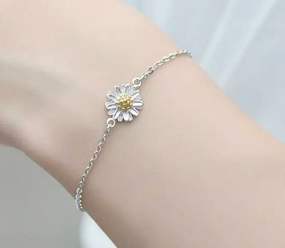 嗨,寶貝銀飾珠寶* 925純銀☆超精緻時尚 可愛 清新 自然 小雛菊純銀手鍊 情人節禮物 日韓熱銷款