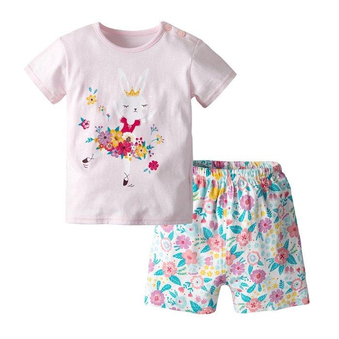 夏季新款 歐美家居服 女童 粉色卡通仙女短袖短褲套裝純棉兩件套