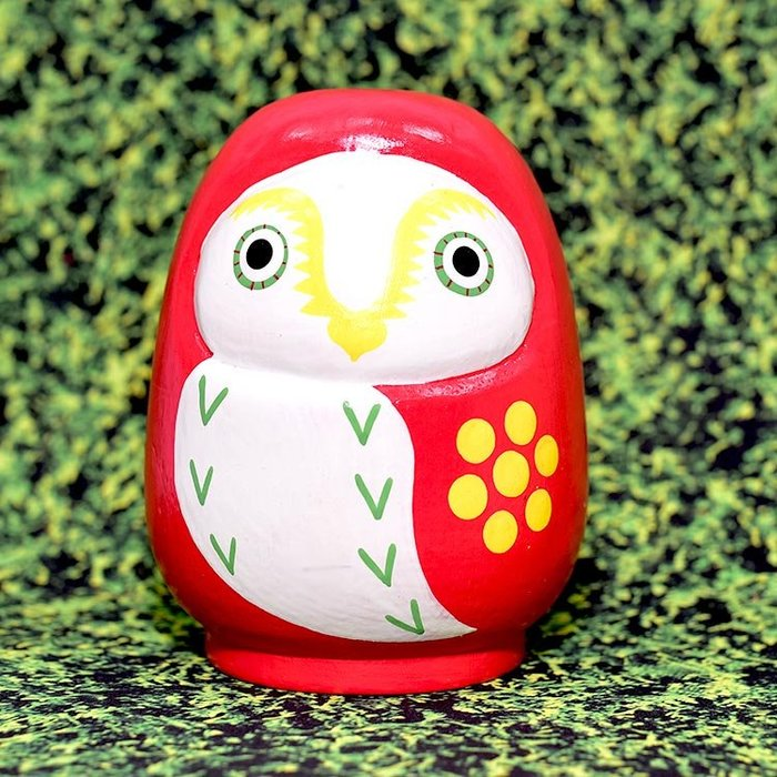 貓頭鷹 手繪 不倒翁 日本製 木製 紅色