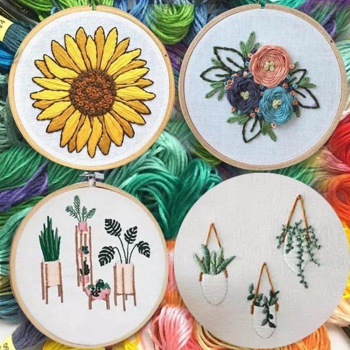 包郵手工刺繡diy材料包立體繡花3d套件歐式十字繡植物基礎初學