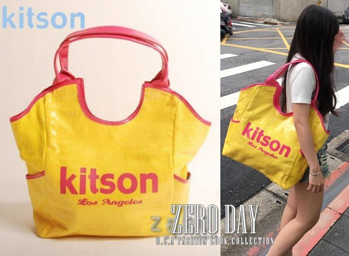 【零時差美國時尚網】歐美好萊塢Kitson真品LA Sequin Tote logo字母亮片托特包/肩背包-黃色
