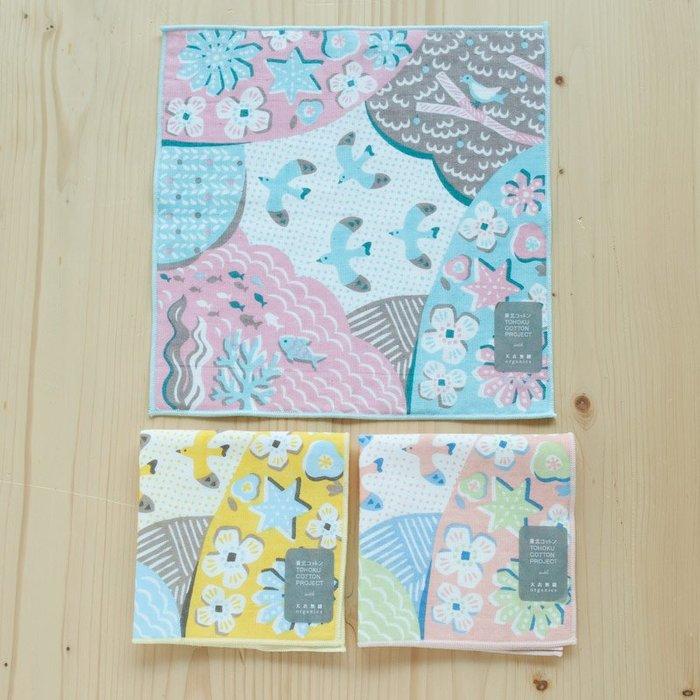 《散步生活雜貨》日本製 天衣無縫 東北棉 海鷗 25cm 方形 手帕 手巾-三色選擇